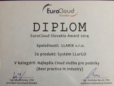 diplom EuroCloud Slovakia Award 2014